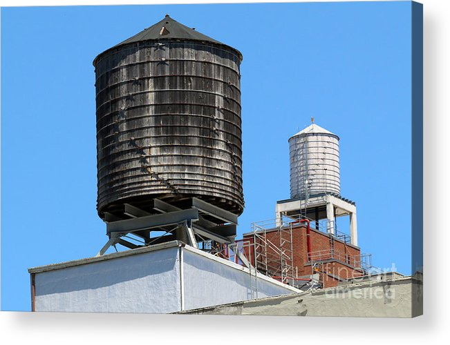 High Line Acrylic Print featuring the photograph Water Tanks From The High Line by Steven Spak