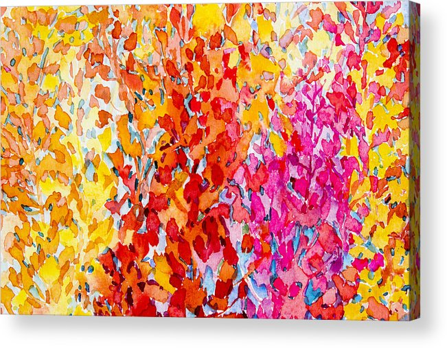 Watercolor Original Painting Colorful Bunch Of Abstract Flowers Acrylic Print