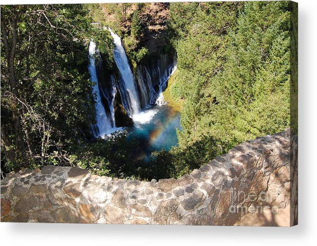 Mcarthur-burney Falls Memorial State Park Acrylic Print featuring the photograph Waterfall And Rainbow 3 by Debra Thompson
