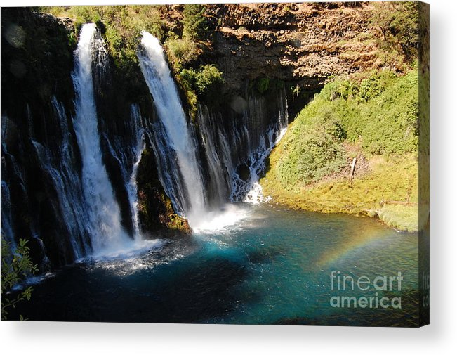 Mcarthur-burney Falls Memorial State Park Acrylic Print featuring the photograph Waterfall And Rainbow 4 by Debra Thompson