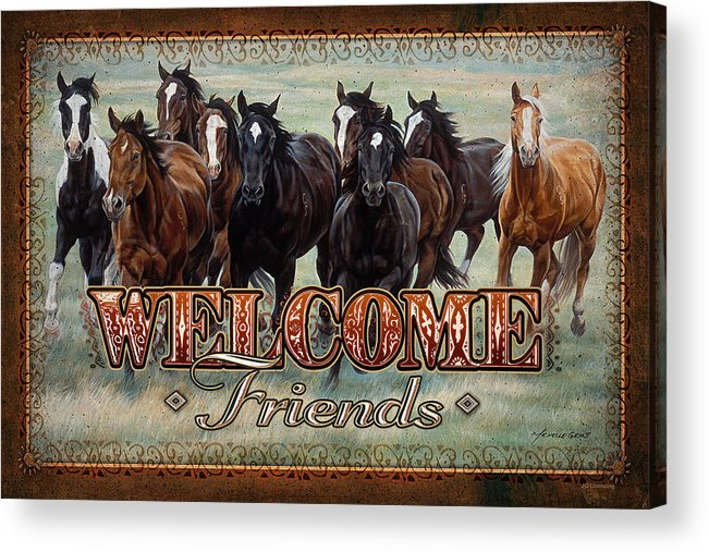 Michelle Grant Acrylic Print featuring the painting Welcome Friends Horses by JQ Licensing