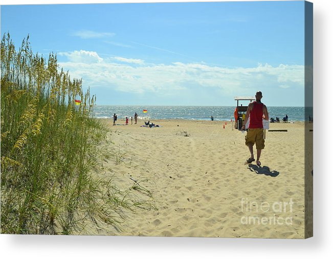 Walking Out To An Absolutely Gorgeous Cape Hatteras Island Beach. Acrylic Print featuring the photograph Welcome To The Beach by Robert Loe