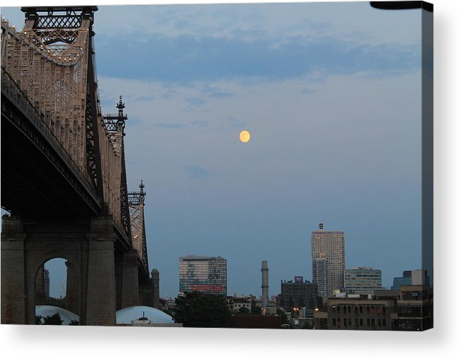 Queensboro Bridge Acrylic Print featuring the photograph Whispy Clouds And A Moon by Catie Canetti