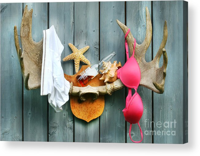 Antlers Acrylic Print featuring the digital art Wild Summer Cottage Weekend by Sandra Cunningham