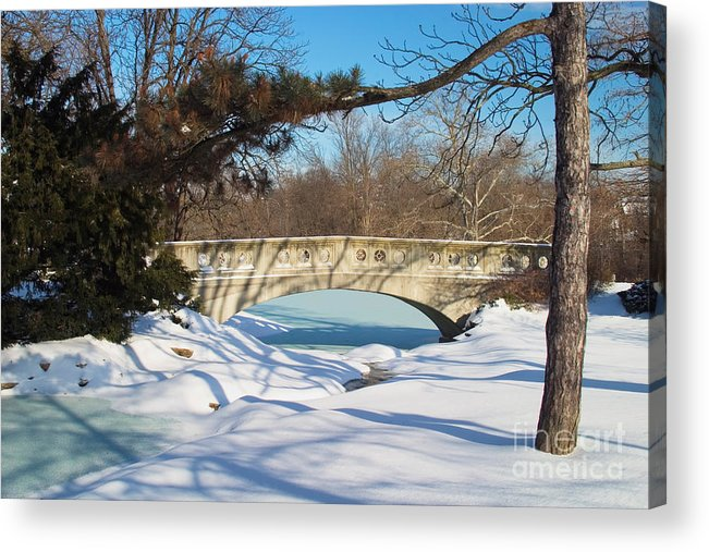 Bridge Acrylic Print featuring the photograph Winter Bridge by David Davis