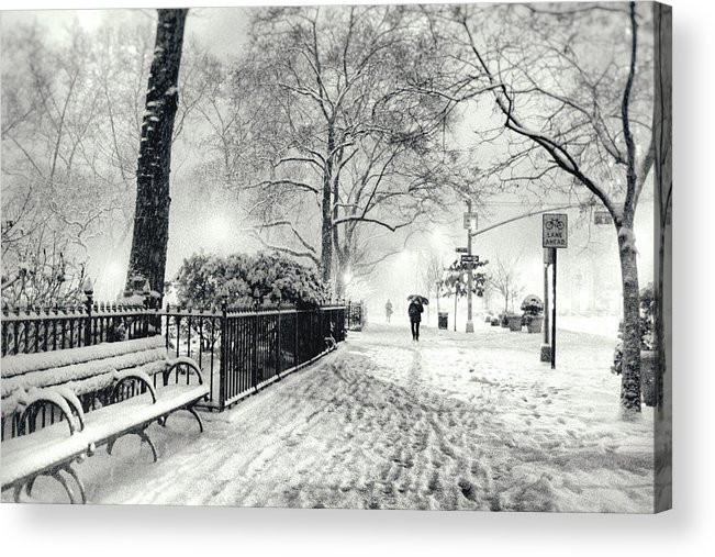 New York City Acrylic Print featuring the photograph Winter Night - Snow - Madison Square Park - New York City by Vivienne Gucwa