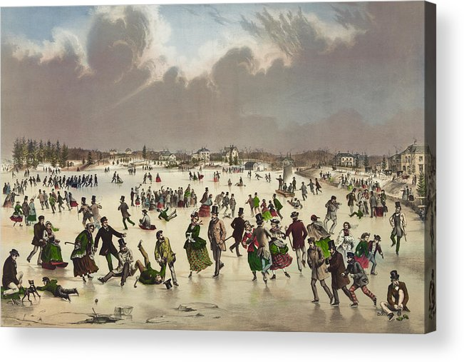 Winter Scene Acrylic Print featuring the painting Winter Scene Circa 1859 by Aged Pixel