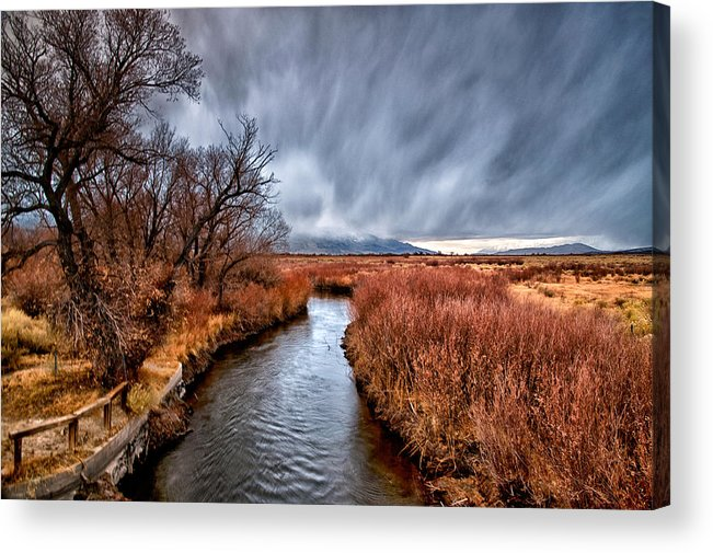 River Acrylic Print featuring the photograph Winter Storm Over Owens River by Cat Connor