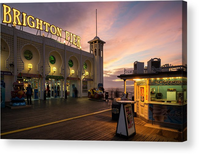 Landscape Acrylic Print featuring the photograph Winter Sunset Over Brighton Pier In England by Matthew Gibson