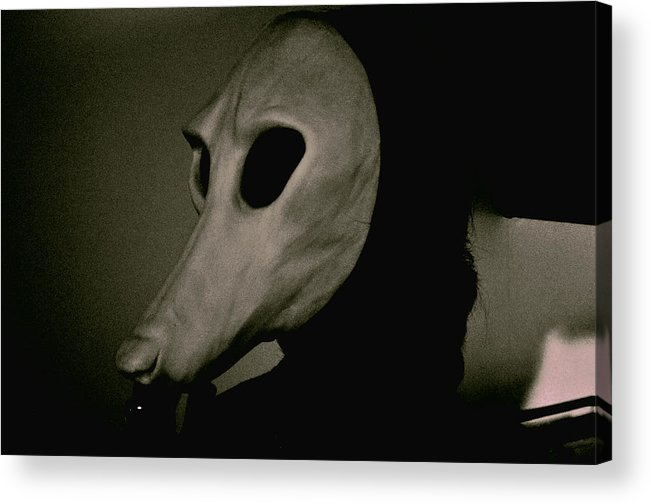 Witch Witching Mask Twilight Zone Silhouette Monochrome Horror Macabre  Acrylic Print featuring the photograph Witch Hound by Keanu Hakimian