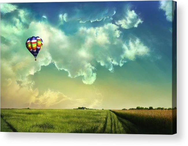 Balloon Acrylic Print featuring the digital art Wizards Balloon by Karen Kutoloski