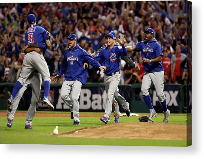 American League Baseball Acrylic Print featuring the photograph World Series - Chicago Cubs V Cleveland by Elsa