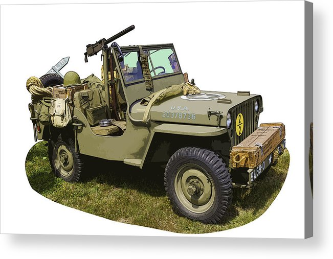 World War Two Acrylic Print featuring the photograph World War Two - Willys - Army Jeep by Keith Webber Jr