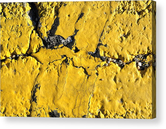 Pavement Acrylic Print featuring the photograph Yellow Line Abstract by Luke Moore