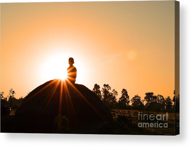 Crepuscular Rays Acrylic Print featuring the photograph Yoga Time by Image World