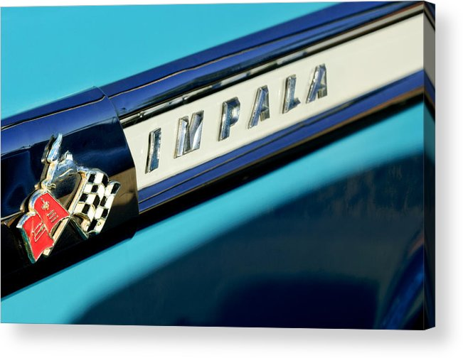 1959 Chevrolet Impala Acrylic Print featuring the photograph 1959 Chevrolet Impala Emblem by Jill Reger