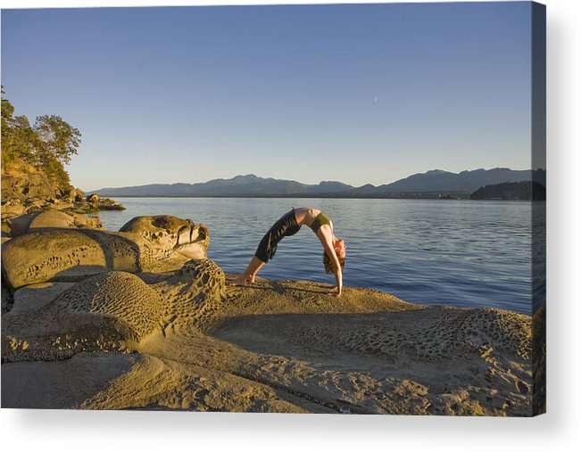 Hornby Island Acrylic Print featuring the photograph A Woman Does Yoga At Sunset by Taylor S. Kennedy