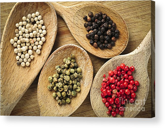 Peppercorns Acrylic Print featuring the photograph Assorted Peppercorns by Elena Elisseeva