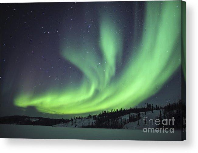 Yellowknife Acrylic Print featuring the photograph Aurora Borealis Over Prosperous Lake by Jiri Hermann