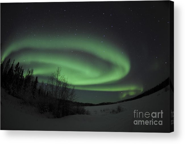 Yellowknife Acrylic Print featuring the photograph Aurora Borealis Over Vee Lake by Jiri Hermann