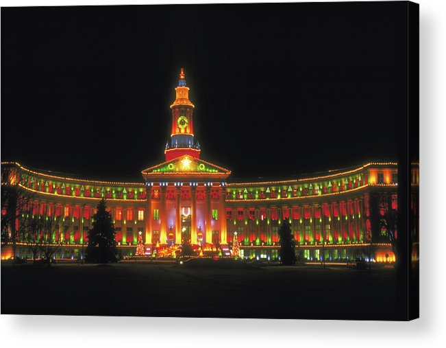 Christmas Acrylic Print featuring the photograph Christmas Lights In Denver by Carl Purcell