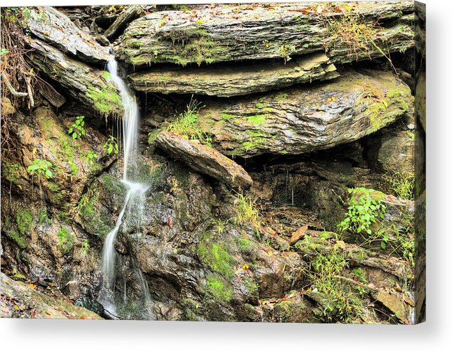 Waterfall Mountain Mountains Creek Stream Spring Fed Natural Nature Harpers Ferry West Virginia Wv Va Md Maryland Potomac Shenandoah River Rivers Basin Watershed Falling Waters Acrylic Print featuring the photograph Falling Waters by JC Findley