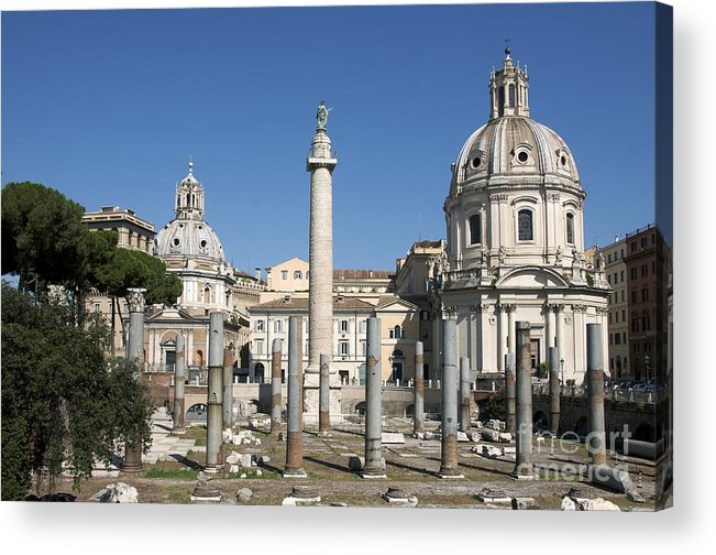 Worth Acrylic Print featuring the photograph Imperial Fora With The Trajan's Column And The Church Santissimo Nome Di Maria. Rome by Bernard Jaubert