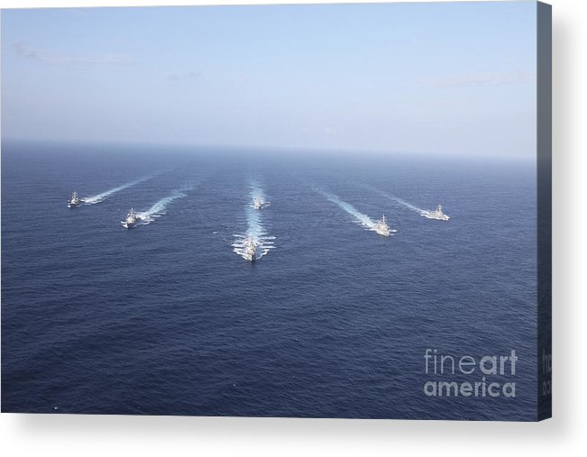 Front View Acrylic Print featuring the photograph Military Ships Transit The Philippine by Stocktrek Images