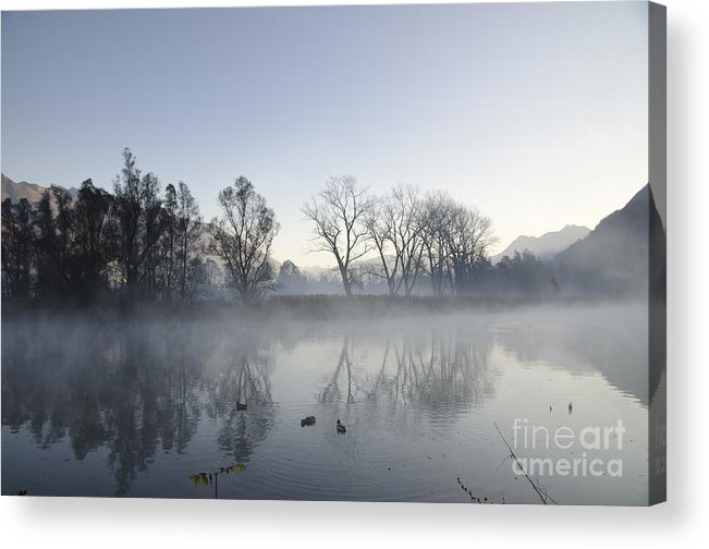 Lake Acrylic Print featuring the photograph Mountain And Trees Reflected In A Foggy Lake by Mats Silvan
