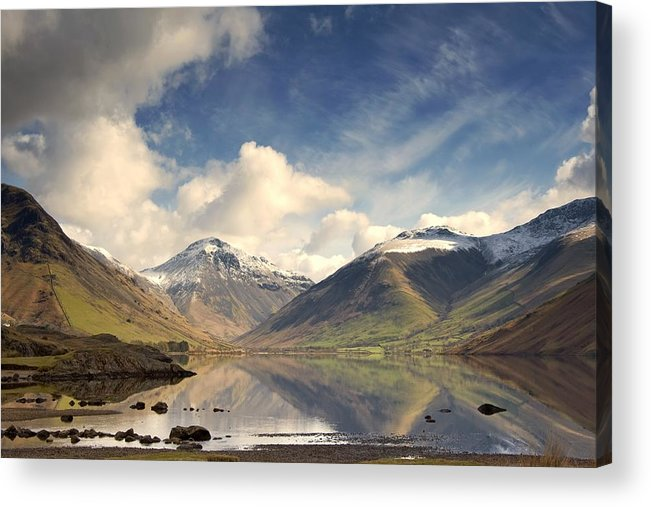 Cumbria Acrylic Print featuring the photograph Mountains And Lake At Lake District by John Short