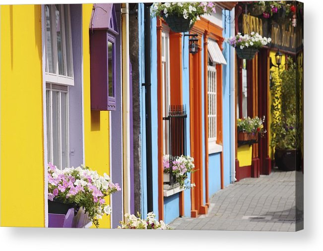 Buildings Acrylic Print featuring the photograph Painted Buildings On Main Street In by Trish Punch