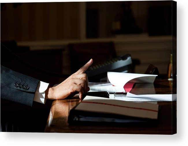 History Acrylic Print featuring the photograph President Barack Obama Gestures by Everett
