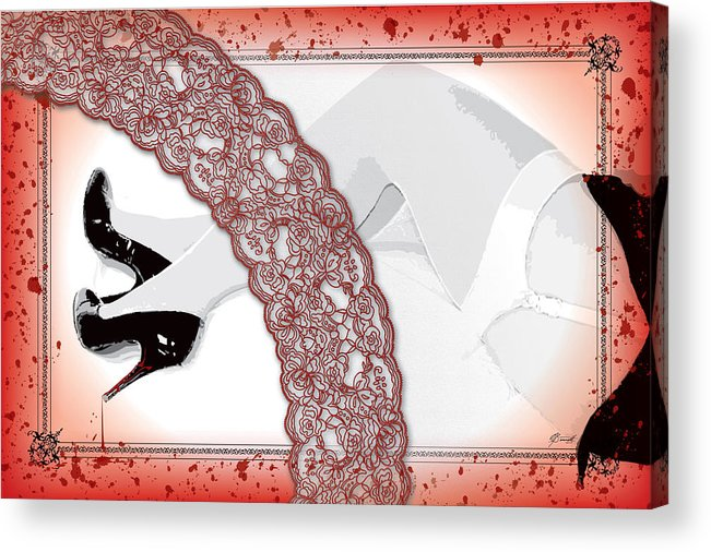 Red Acrylic Print featuring the digital art Red Lace And Killer Pumps by Dana Bennett