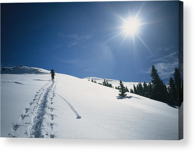 Natural Forces And Phenomena Acrylic Print featuring the photograph Scott Cooper Backcountry Skiing by Bill Hatcher