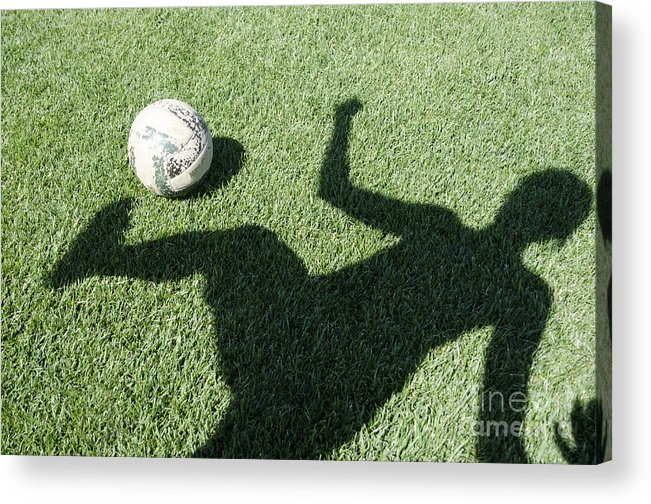 Football Acrylic Print featuring the photograph Shadow Playing Football by Mats Silvan