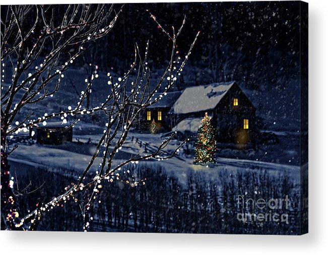Architecture Acrylic Print featuring the photograph Snowy Winter Scene Of A Cabin In Distance by Sandra Cunningham