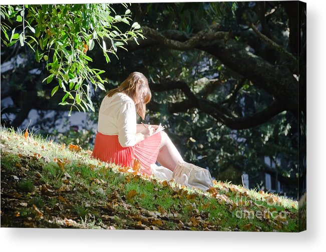 Girl Acrylic Print featuring the photograph Student Girl In The Autumn Park by Yurix Sardinelly