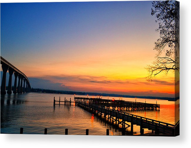 Sunset Acrylic Print featuring the photograph Sunset Bridge by Kelly Reber