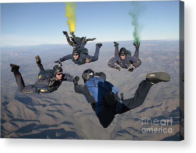 Skydiving Acrylic Print featuring the photograph The U.s. Navy Parachute Demonstration by Stocktrek Images