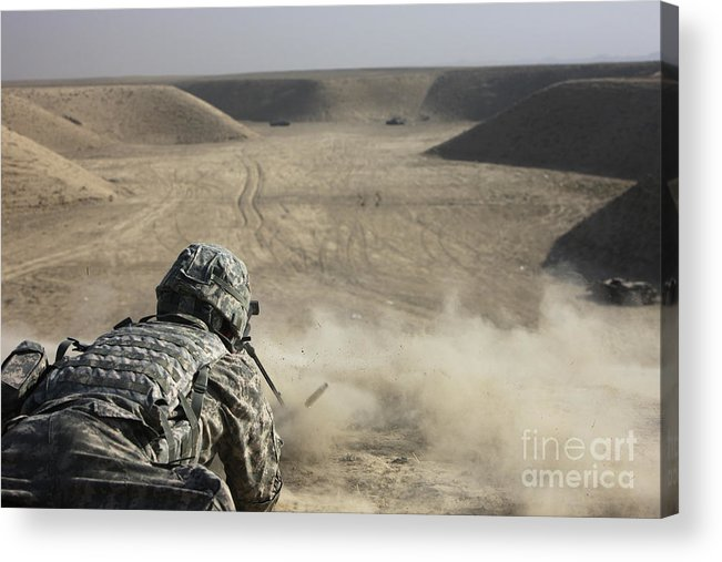 Operation Enduring Freedom Acrylic Print featuring the photograph U.s. Army Soldier Fires A Barrett M82a1 by Terry Moore