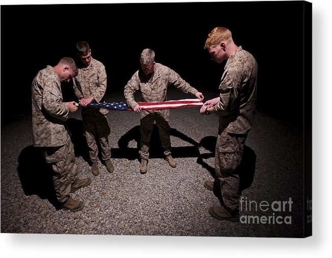 Us Marines Acrylic Print featuring the photograph U.s. Marines Fold The American Flag by Terry Moore