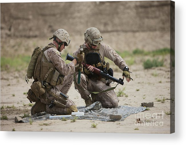 Kunduz Acrylic Print featuring the photograph U.s. Marines Prepare A Fragmentation by Terry Moore