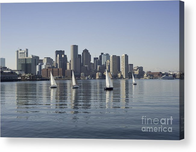 Boston Harbor Massachusetts Boats Ocean Skyline Downtown Buildings Acrylic Print featuring the photograph View Of Boston Skyline From Boston Harbor by Darwin Lopez