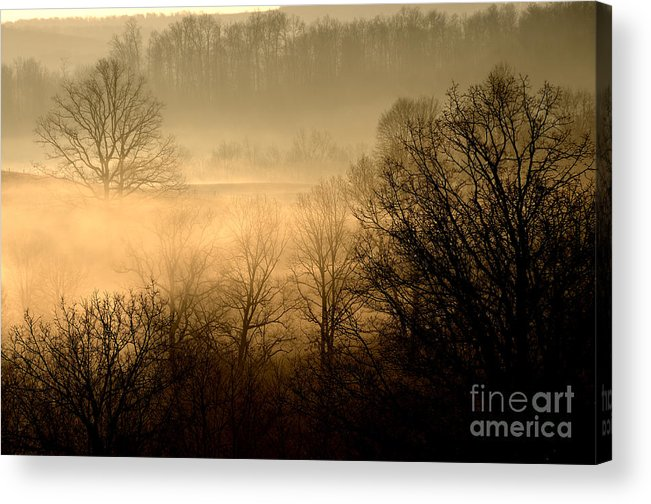Sunrise Acrylic Print featuring the photograph Misty Mountain Sunrise by Thomas R Fletcher