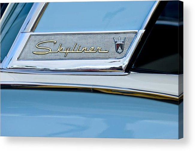 1956 Ford Fairlane Skyliner Acrylic Print featuring the photograph 1956 Ford Fairlane Skyliner Emblem by Jill Reger