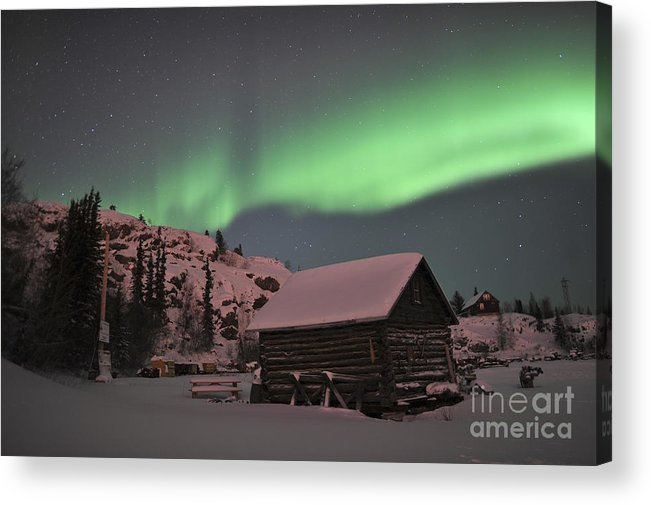 Yellowknife Acrylic Print featuring the photograph Aurora Borealis Over A Cabin, Northwest by Jiri Hermann