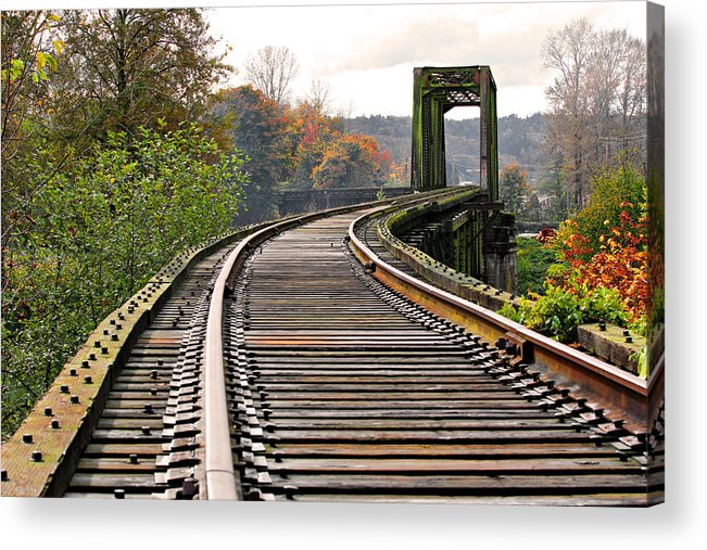 Old Acrylic Print featuring the photograph Railway Track by Paul Fell