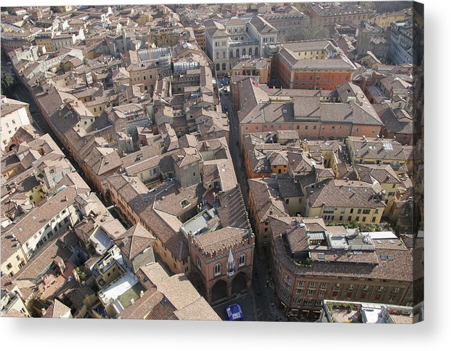 Bologna Acrylic Print featuring the photograph View Of Bologna From The Torre Degli by Gina Martin