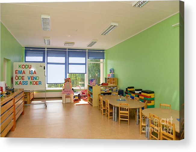 Architectural Detail Acrylic Print featuring the photograph Empty Estonian Elementary Grade School by Jaak Nilson