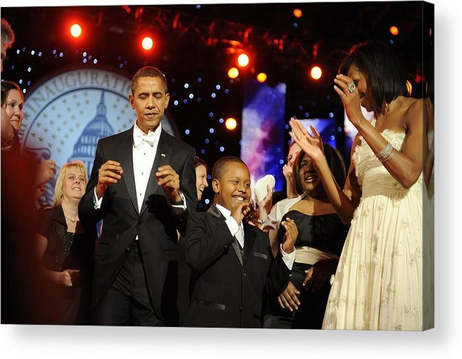 History Acrylic Print featuring the photograph President And Michelle Obama Dance by Everett
